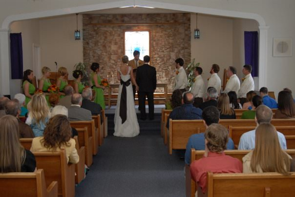 wedding of Shaye and Stuart in a small church