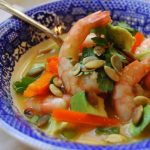Orange Gazpacho with Cumin Shrimp and Avocado