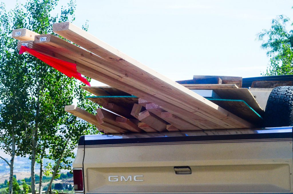 truck loaded with lumber