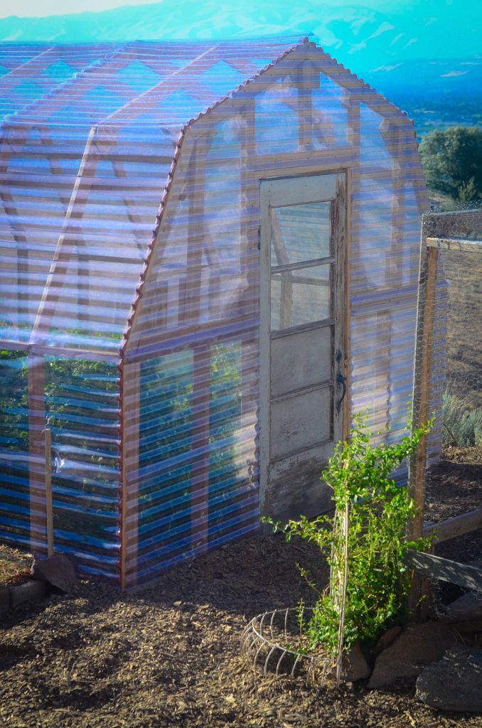 outside view of a greenhouse with plastic sheeting
