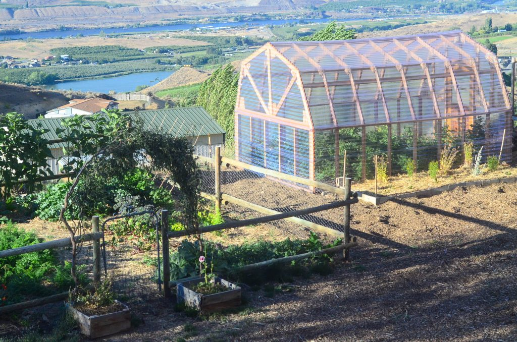 Our lower garden and greenhouse on the homestead