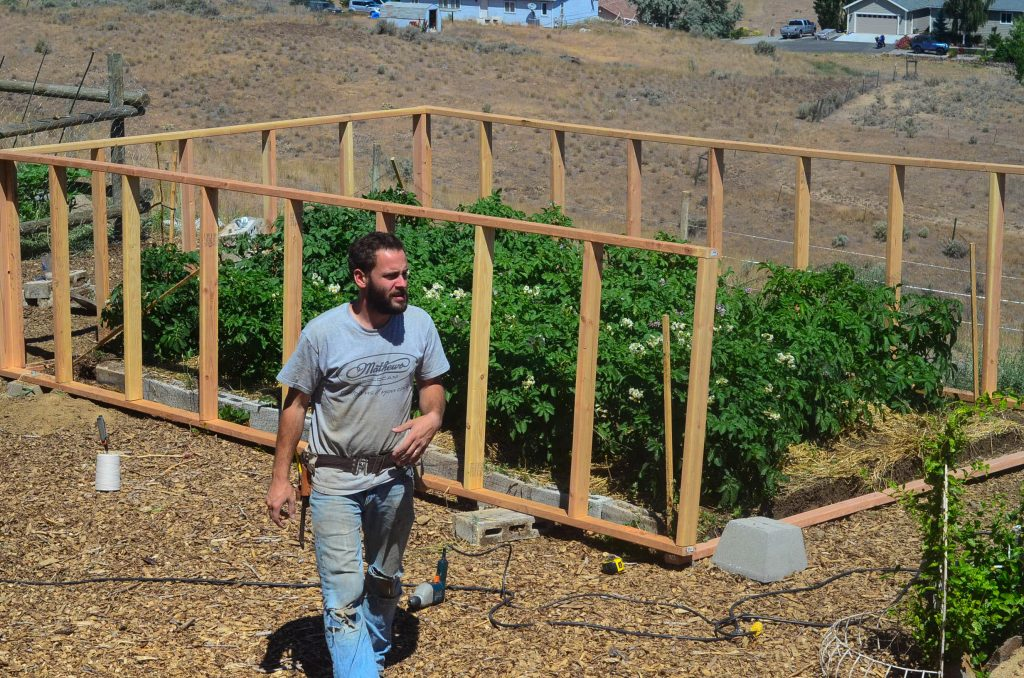 greenhouse frame being built