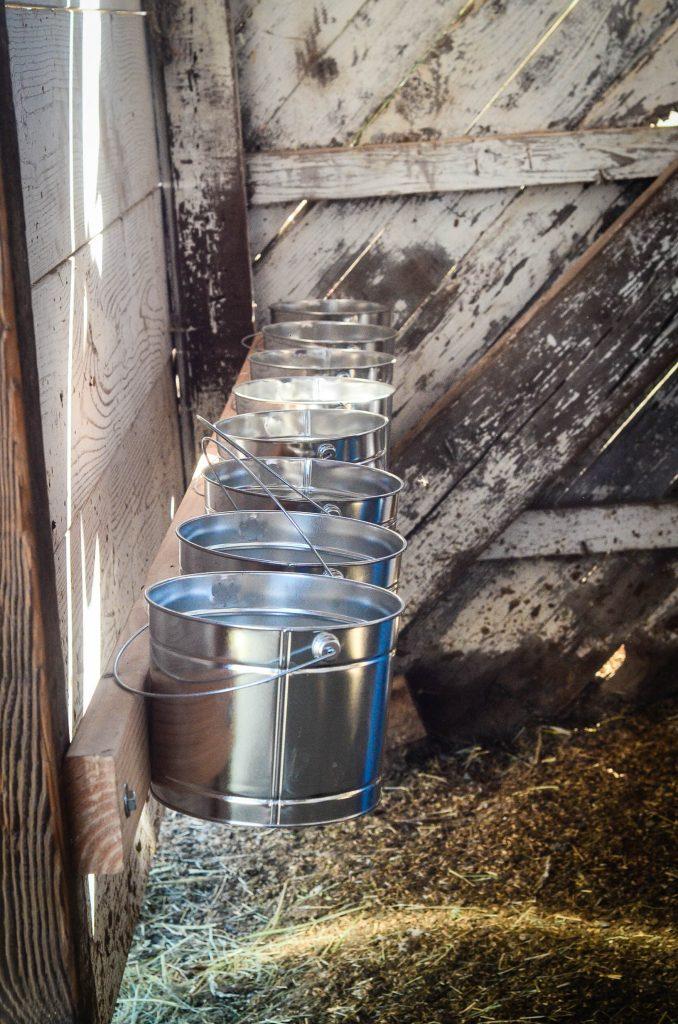 Eight of the sixteen loose mineral buckets   The Elliott Homestead (.com)