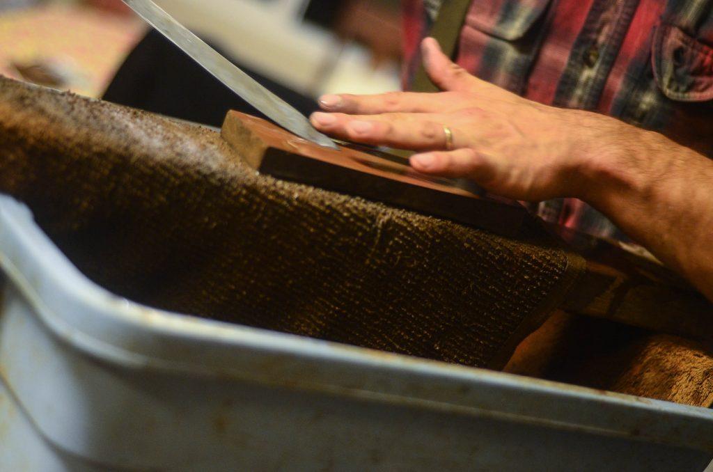 Brandon sharpening his knife | The Elliott Homestead (.com)