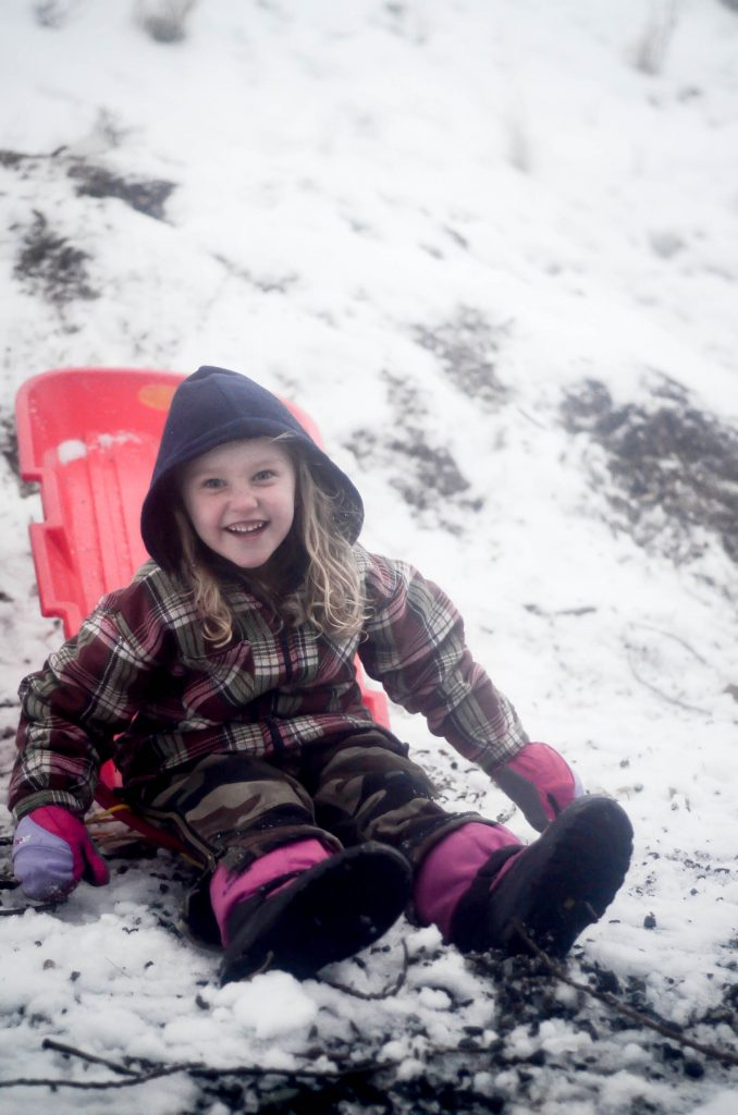 Sledding down the wood chip pile | The Elliott Homestead