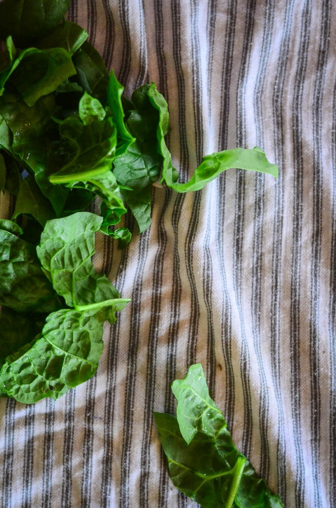 Drying greens on a tea towel after washing...