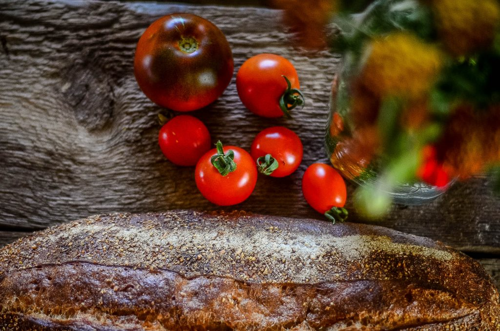 The best of basic ingredients: tomatoes and crusty bread!
