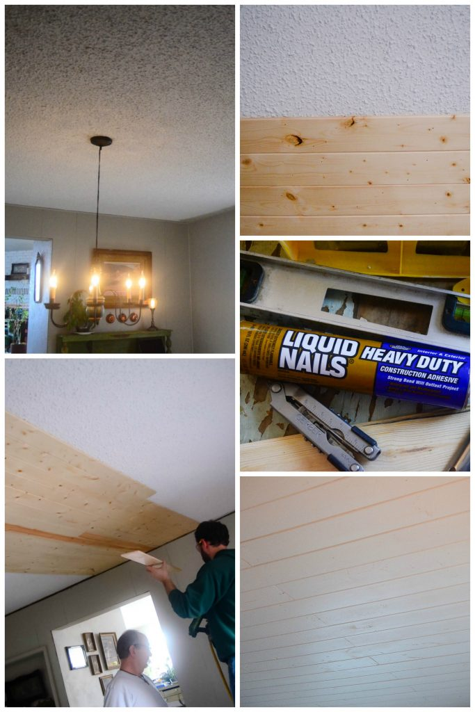 Covering Popcorn Ceilings with Planking | The Elliott Homestead