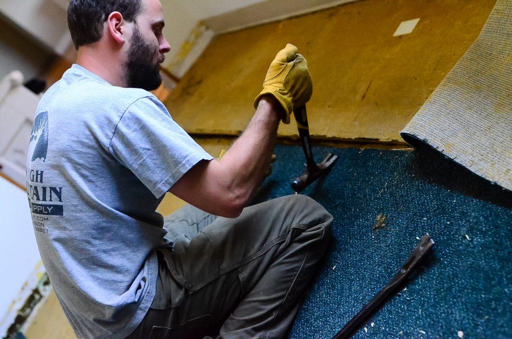 Bye carpeted kitchen floor