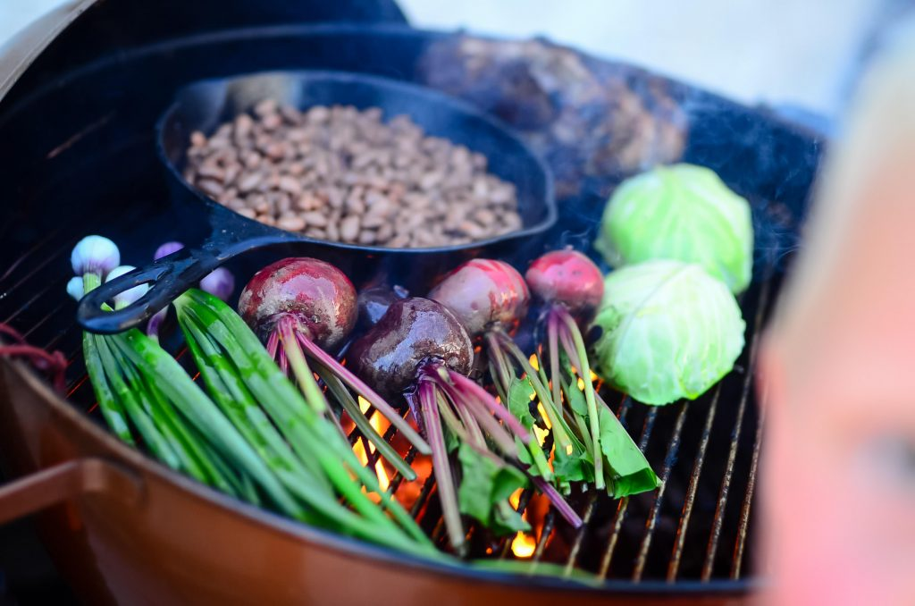 Grilled spring veg and pork | theelliotthomestead.com