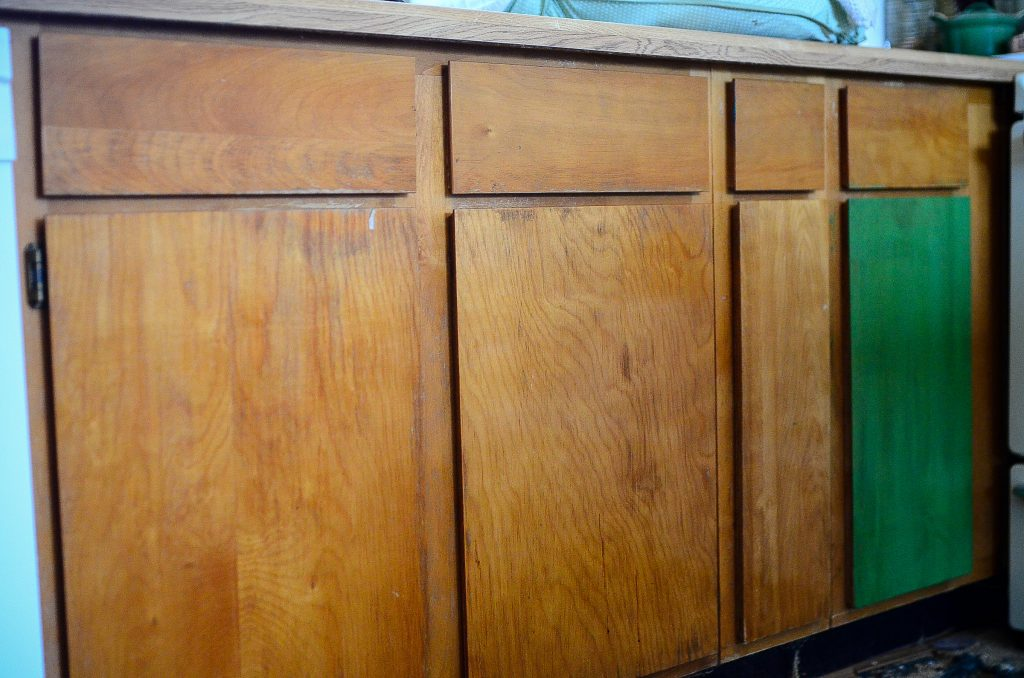 How to redo faux wood cabinets