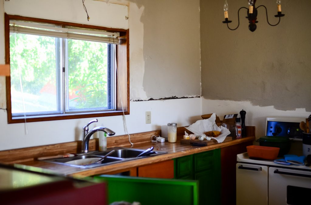 the old window in the farmhouse kitchen