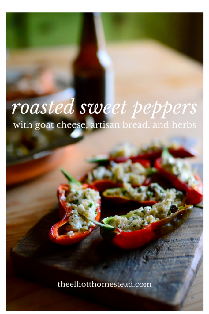 Roasted sweet peppers with goat cheese, bread, and herbs | The Elliott ...