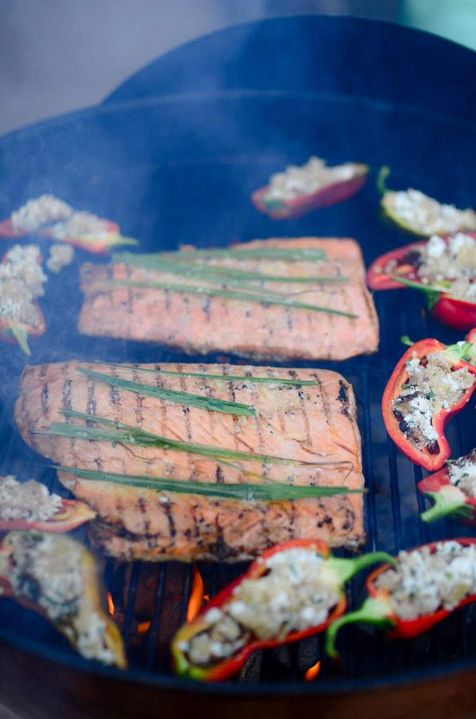 Roasted sweet peppers and salmon