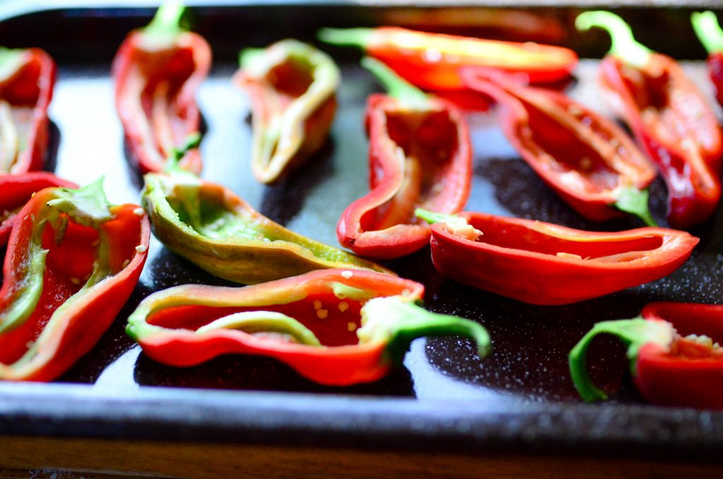 Roasted Red Peppers with Goat Cheese
