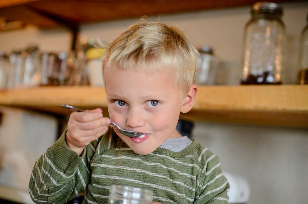 Owen eating yogurt | The Elliott Homestead