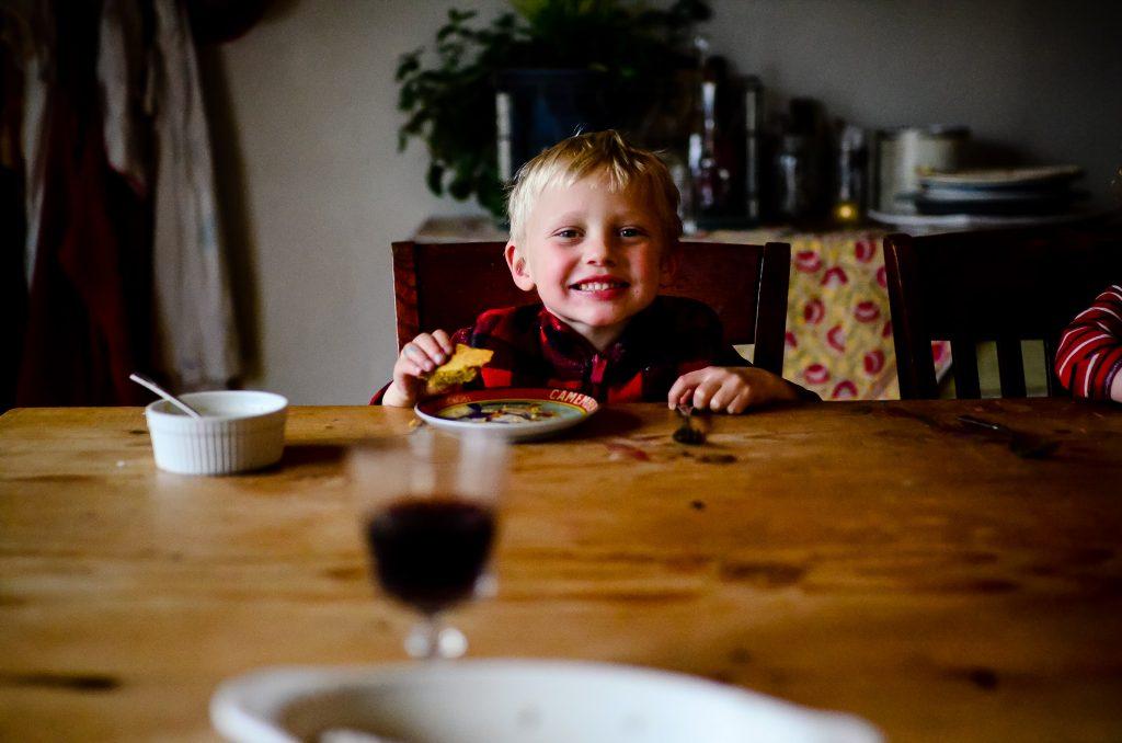 Owen eating buttercake