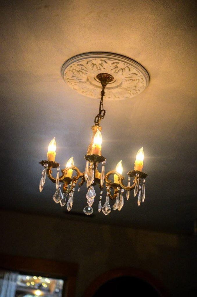 Vintage chandelier in our cottage kitchen | The Elliott Homestead