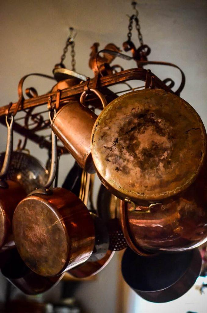 Copper pot rack in our cottage kitchen   The Elliott Homestead