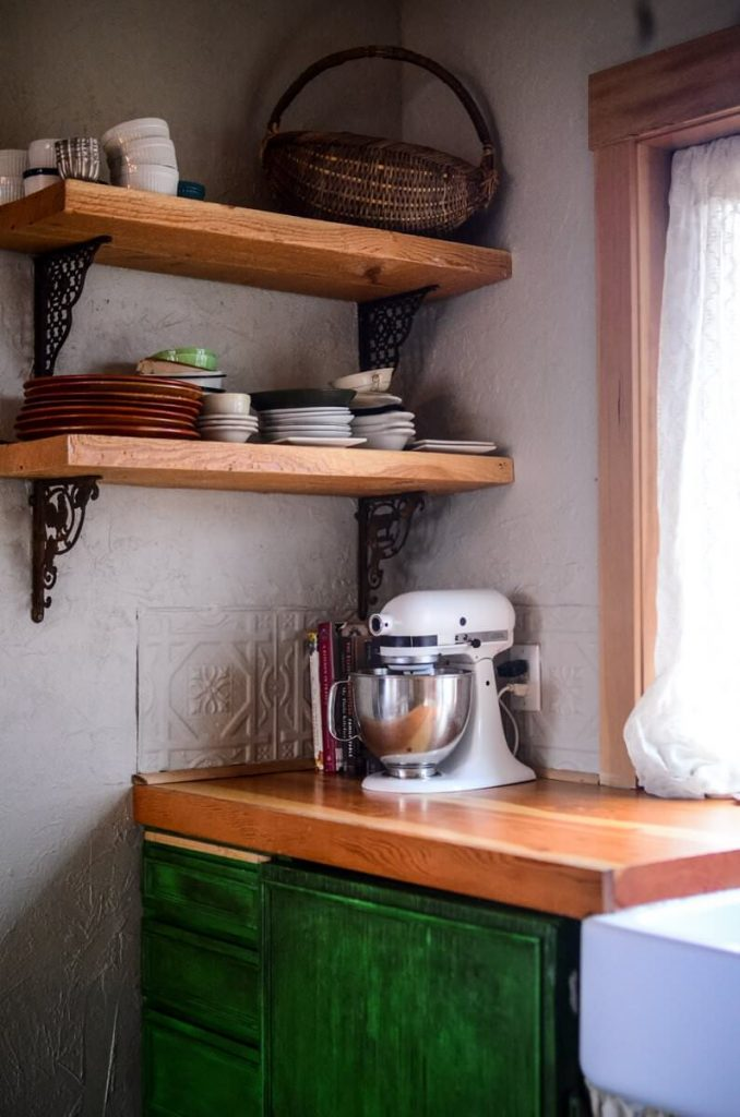 Open shelving in our cottage kitchen | The Elliott Homestead