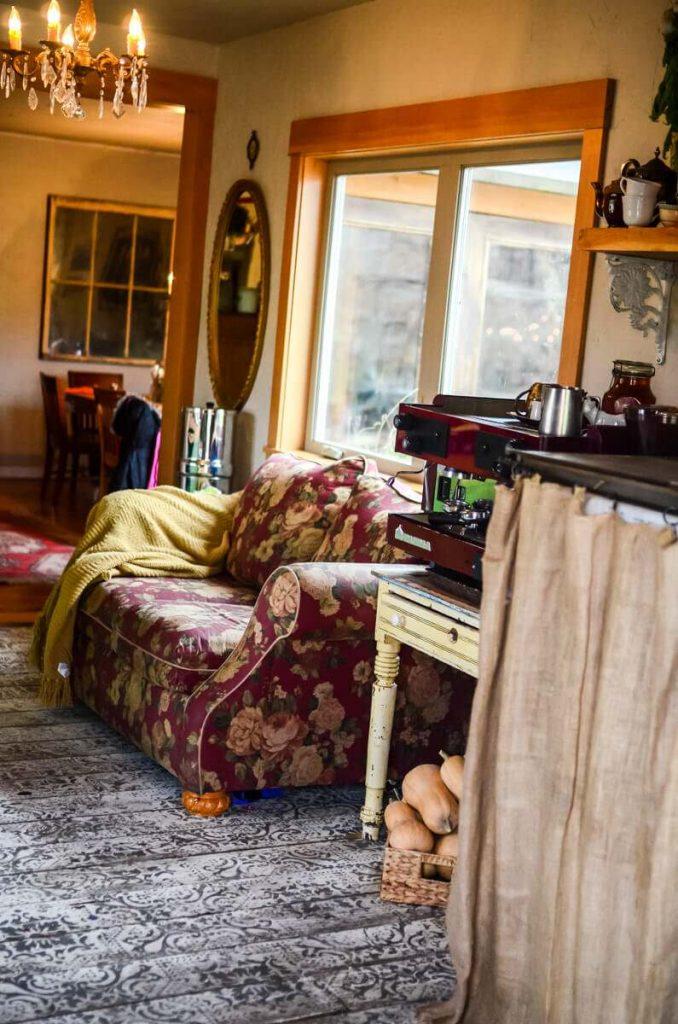 Kitchen couch in our cottage kitchen | The Elliott Homestead