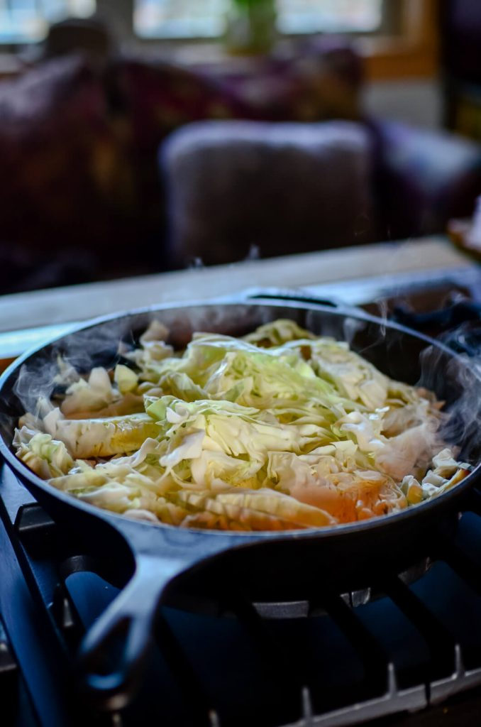 Frying up cabbage