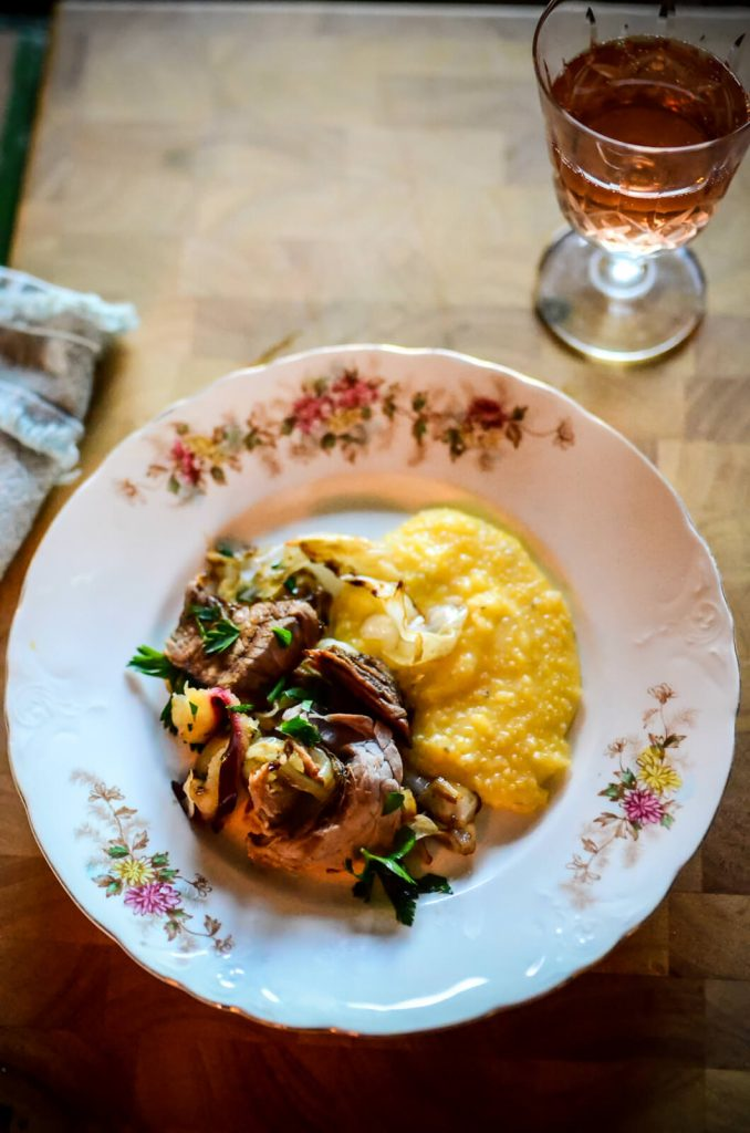 Ham, Cabbage, and Apple Fry with Buttery Polenta