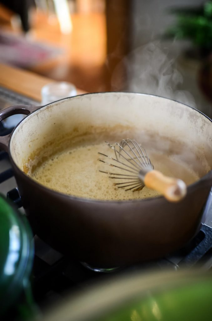 Simmering sweetened condensed milk | The Elliott Homestead